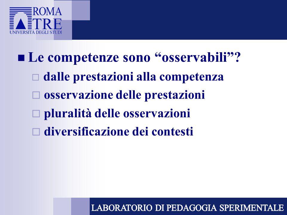 """Le competenze sono """"osservabili""""?  dalle prestazioni alla competenza  osservazione delle prestazioni  pluralità delle osservazioni  diversificazio"""