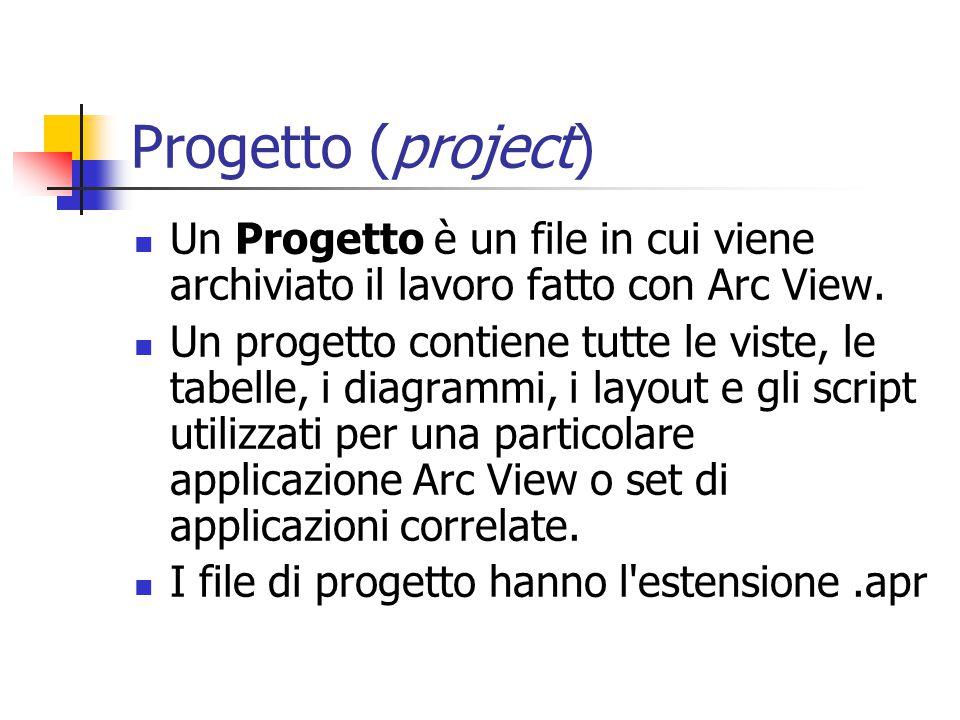 Progetto (project) Un Progetto è un file in cui viene archiviato il lavoro fatto con Arc View.