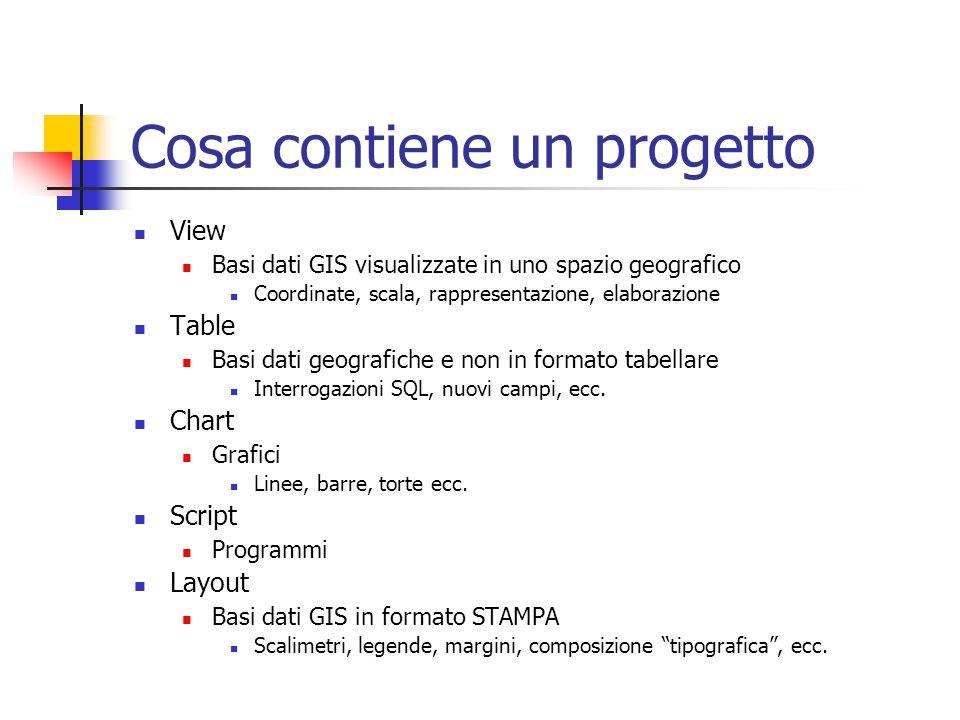 Cosa contiene un progetto View Basi dati GIS visualizzate in uno spazio geografico Coordinate, scala, rappresentazione, elaborazione Table Basi dati geografiche e non in formato tabellare Interrogazioni SQL, nuovi campi, ecc.
