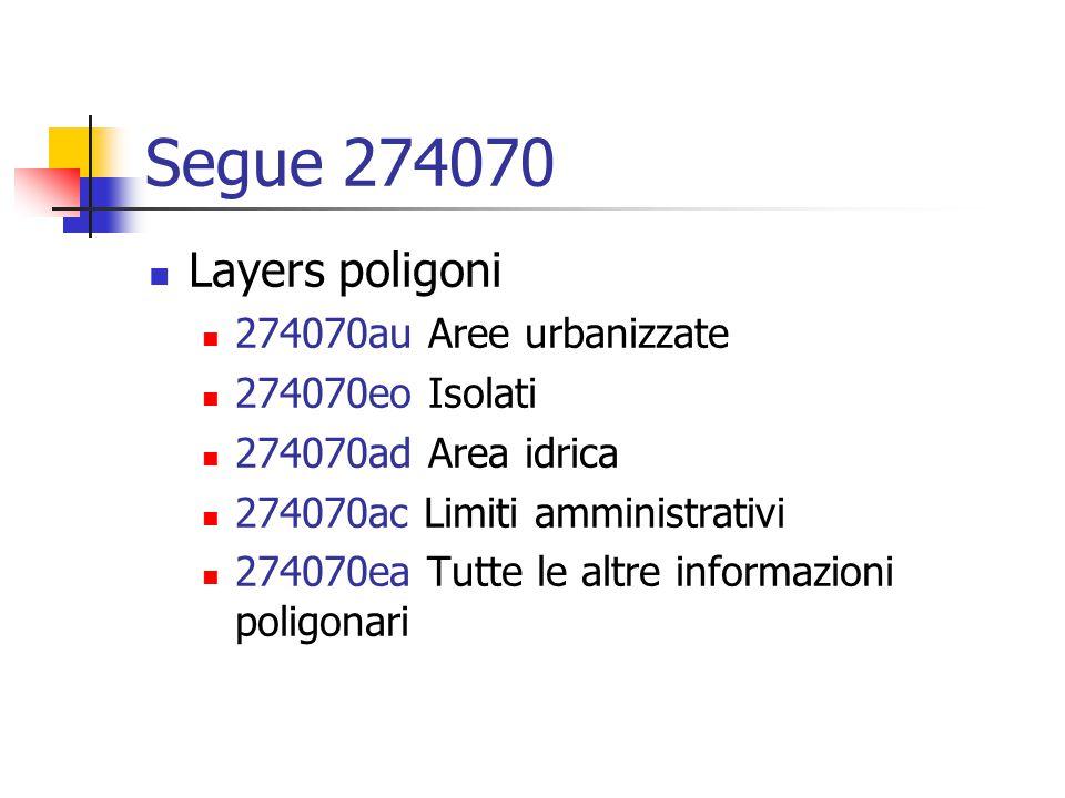 Segue 274070 Layers poligoni 274070au Aree urbanizzate 274070eo Isolati 274070ad Area idrica 274070ac Limiti amministrativi 274070ea Tutte le altre informazioni poligonari