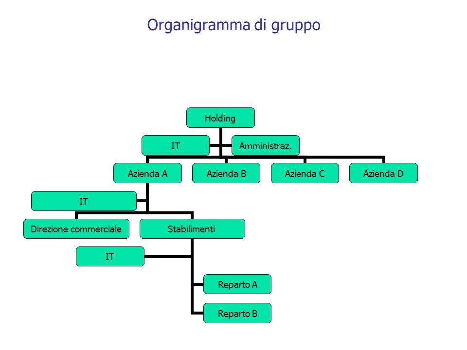 Organigramma di gruppo Holding Azienda A Direzione commerciale Stabilimenti Reparto A Reparto B IT Azienda BAzienda CAzienda D ITAmministraz.