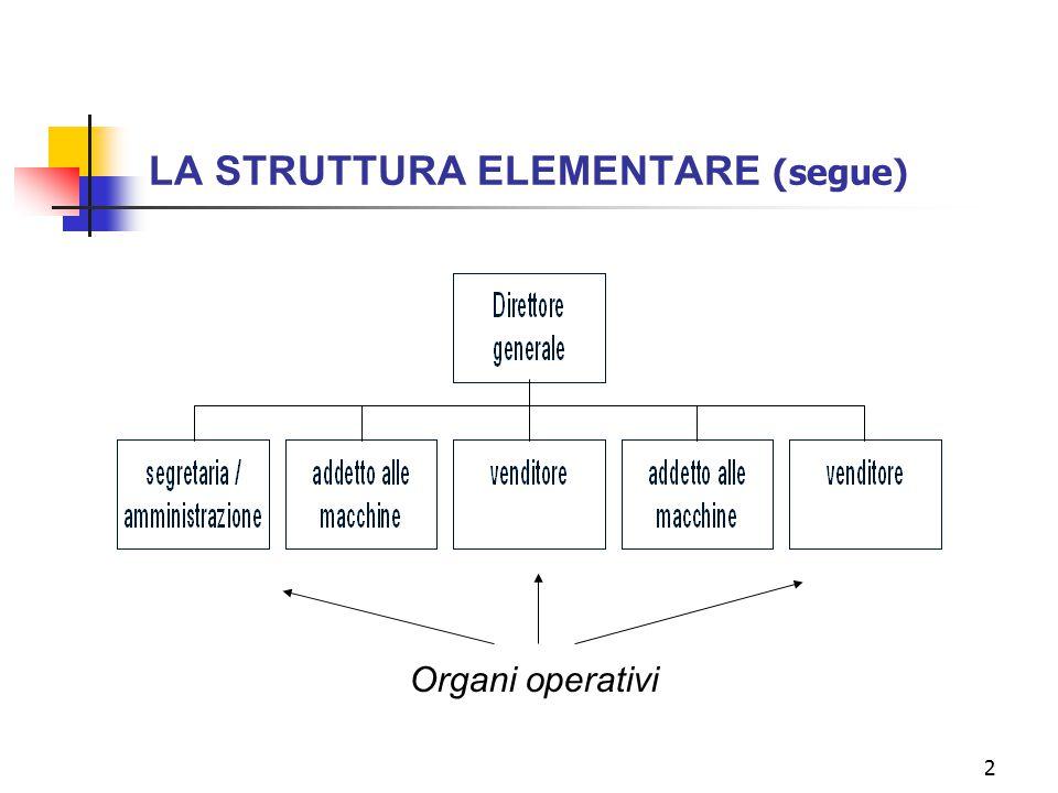 2 LA STRUTTURA ELEMENTARE (segue) Organi operativi