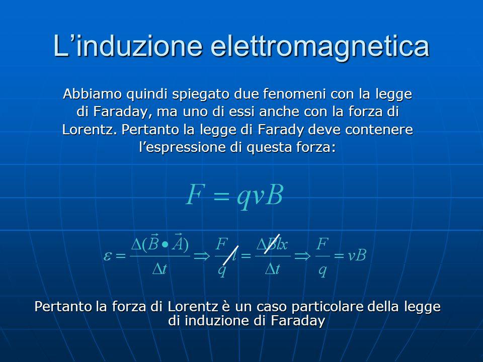 L'induzione elettromagnetica Abbiamo quindi spiegato due fenomeni con la legge di Faraday, ma uno di essi anche con la forza di Lorentz. Pertanto la l