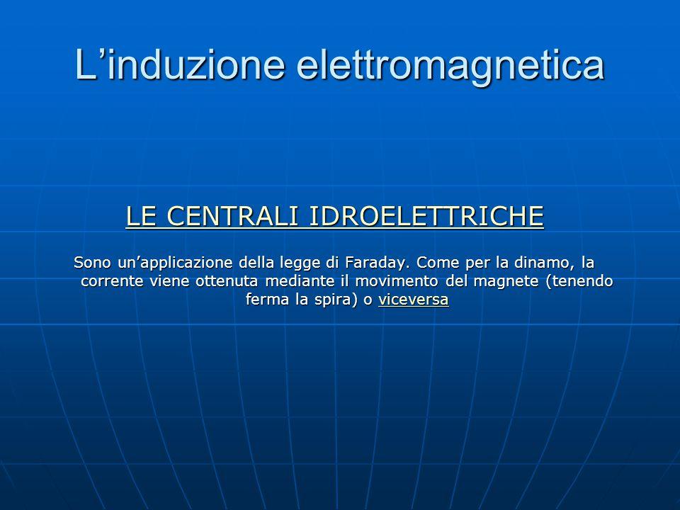 L'induzione elettromagnetica LE CENTRALI IDROELETTRICHE LE CENTRALI IDROELETTRICHE Sono un'applicazione della legge di Faraday. Come per la dinamo, la
