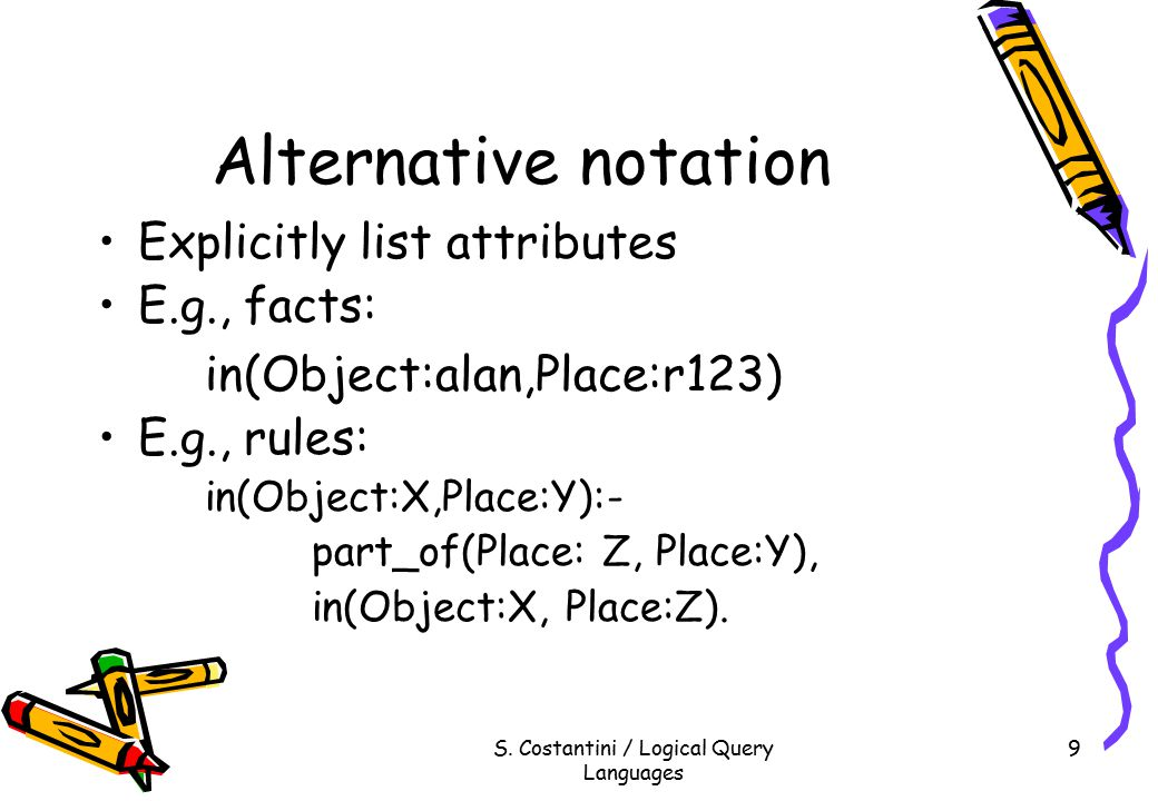 S. Costantini / Logical Query Languages 9 Alternative notation Explicitly list attributes E.g., facts: in(Object:alan,Place:r123) E.g., rules: in(Obje