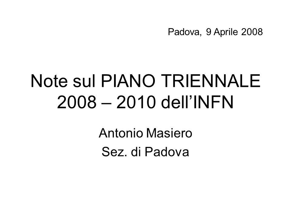 Note sul PIANO TRIENNALE 2008 – 2010 dell'INFN Antonio Masiero Sez. di Padova Padova, 9 Aprile 2008