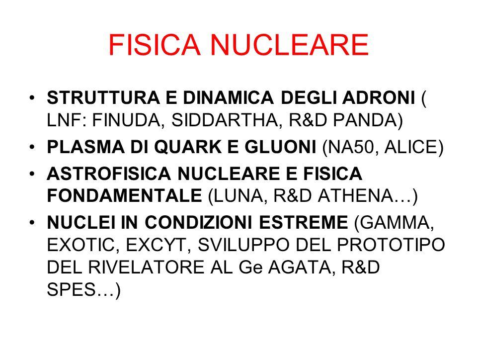 FISICA NUCLEARE STRUTTURA E DINAMICA DEGLI ADRONI ( LNF: FINUDA, SIDDARTHA, R&D PANDA) PLASMA DI QUARK E GLUONI (NA50, ALICE) ASTROFISICA NUCLEARE E FISICA FONDAMENTALE (LUNA, R&D ATHENA…) NUCLEI IN CONDIZIONI ESTREME (GAMMA, EXOTIC, EXCYT, SVILUPPO DEL PROTOTIPO DEL RIVELATORE AL Ge AGATA, R&D SPES…)
