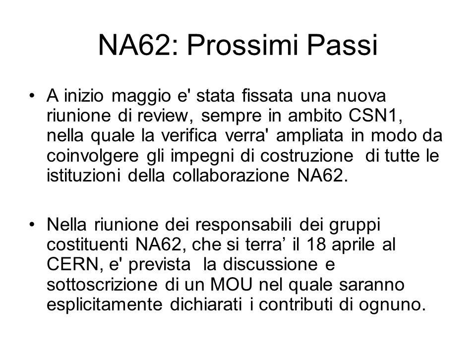 NA62: Prossimi Passi A inizio maggio e stata fissata una nuova riunione di review, sempre in ambito CSN1, nella quale la verifica verra ampliata in modo da coinvolgere gli impegni di costruzione di tutte le istituzioni della collaborazione NA62.