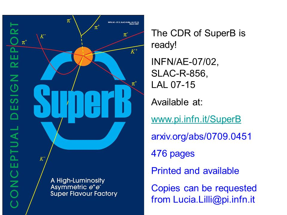 The CDR of SuperB is ready.