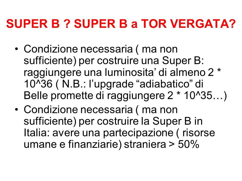 SUPER B ? SUPER B a TOR VERGATA? Condizione necessaria ( ma non sufficiente) per costruire una Super B: raggiungere una luminosita' di almeno 2 * 10^3