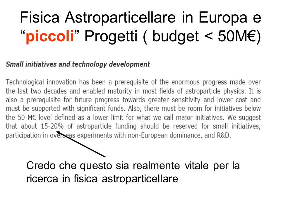 """Fisica Astroparticellare in Europa e """"piccoli"""" Progetti ( budget < 50M€) Credo che questo sia realmente vitale per la ricerca in fisica astroparticell"""
