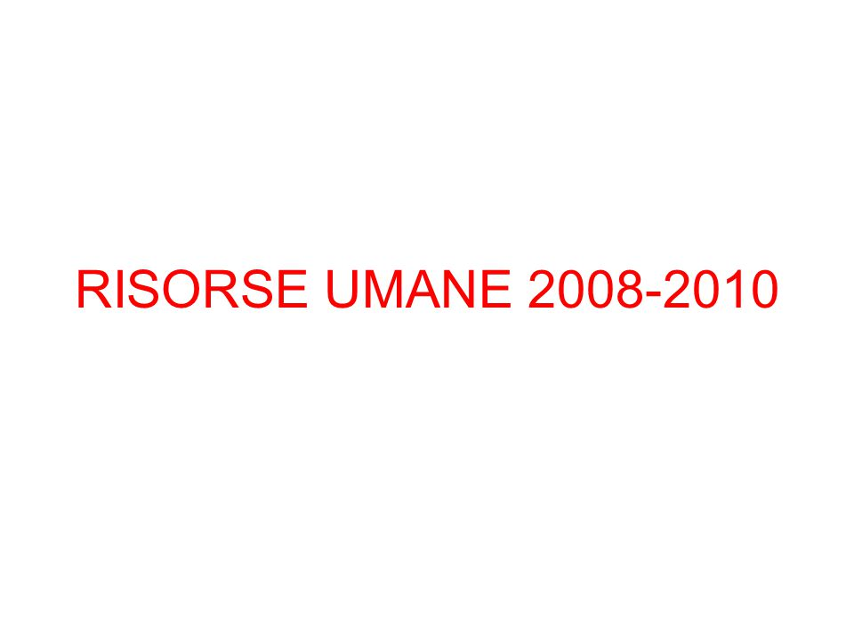 RISORSE UMANE 2008-2010