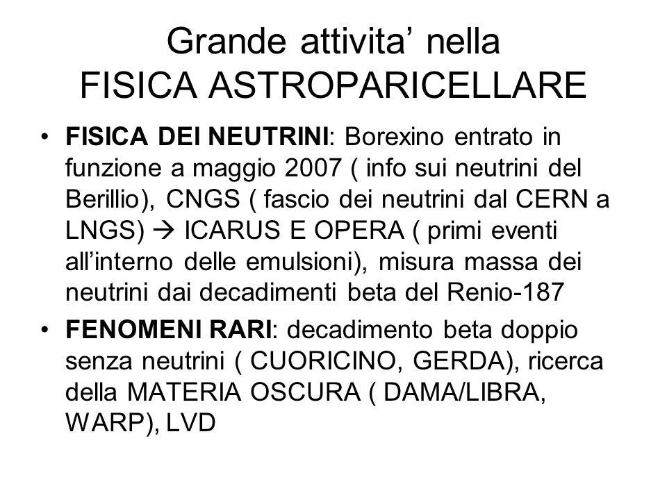 Grande attivita' nella FISICA ASTROPARICELLARE FISICA DEI NEUTRINI: Borexino entrato in funzione a maggio 2007 ( info sui neutrini del Berillio), CNGS