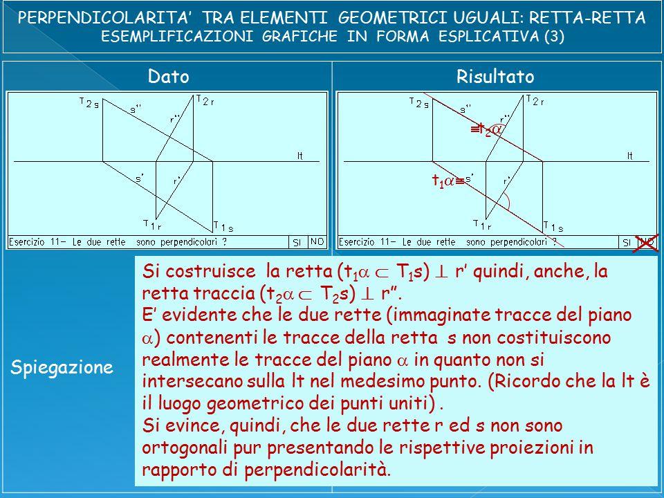 DatoRisultato Spiegazione Si costruisce la retta (t 1   T 1 s)  r' quindi, anche, la retta traccia (t 2  T 2 s)  r .