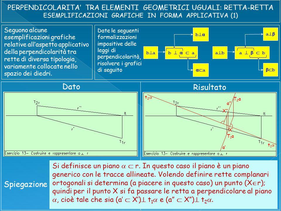 Seguono alcune esemplificazioni grafiche relative all'aspetto applicativo della perpendicolarità tra rette di diversa tipologia, variamente collocate nello spazio dei diedri.