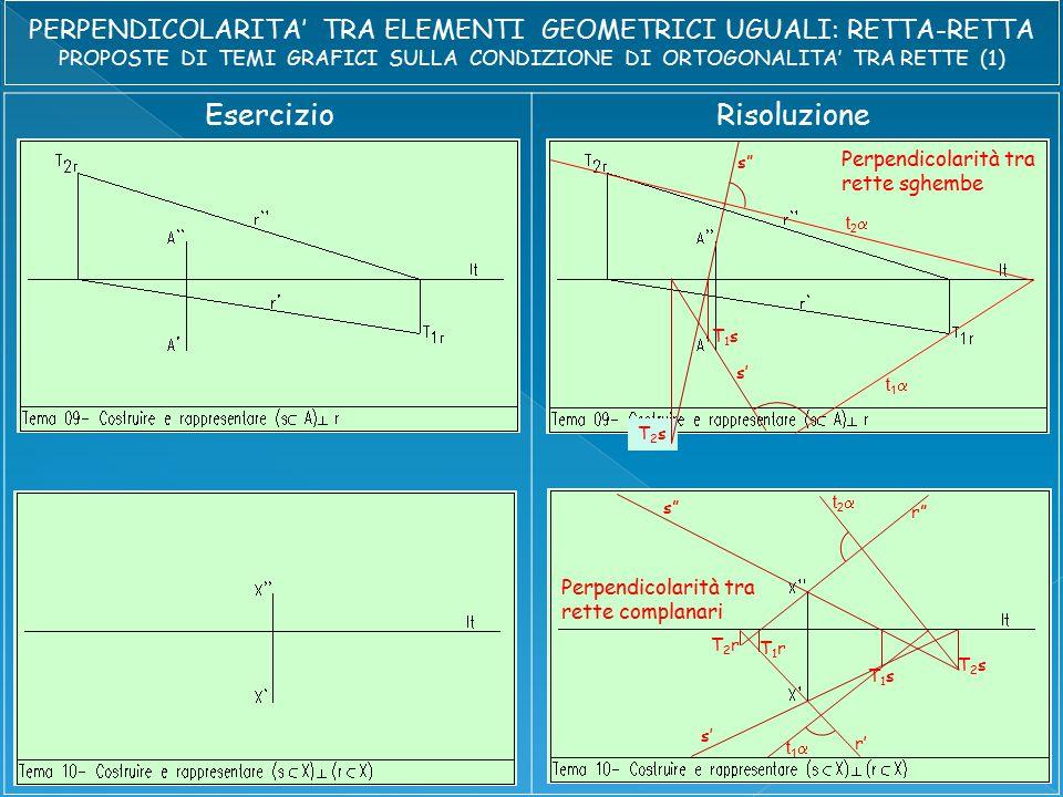 EsercizioRisoluzione s s' t2t2 t1t1 Perpendicolarità tra rette sghembe s s' T1sT1s T2sT2s t2t2 t1t1 T1rT1r T2rT2r r r' Perpendicolarità tra rette complanari T1sT1s T2sT2s