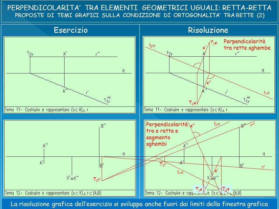 EsercizioRisoluzione t2t2 t1t1 s s' T1sT1s T2sT2s Perpendicolarità tra rette sghembe r r' T1rT1r T2rT2r t2t2 t1t1 s s' T1sT1s T2sT2s Perpendicolarità tra e retta e segmento sghembi La risoluzione grafica dell'esercizio si sviluppa anche fuori dai limiti della finestra grafica