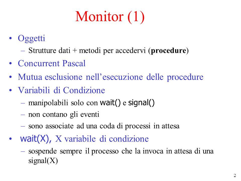 3 Monitor (2) signal(X) –sveglia uno dei processi in coda su X –se nessun processo è in attesa, va persa –deve essere eseguita solo come ultima istruzione prima di uscire dal monitor (il processo svegliato ha l'uso esclusivo del monitor) Il monitor è un costrutto linguistico !.