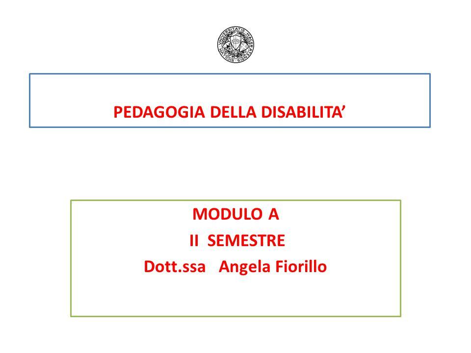 PEDAGOGIA DELLA DISABILITA' MODULO A II SEMESTRE Dott.ssa Angela Fiorillo