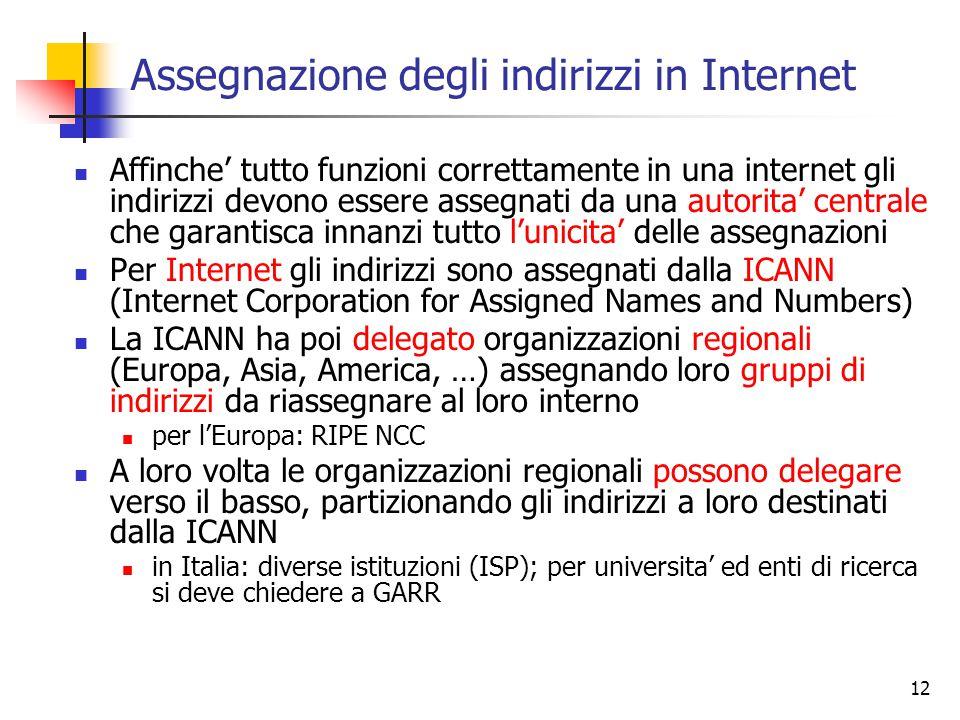 12 Assegnazione degli indirizzi in Internet Affinche' tutto funzioni correttamente in una internet gli indirizzi devono essere assegnati da una autori