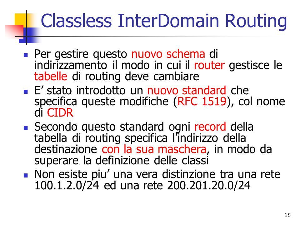18 Classless InterDomain Routing Per gestire questo nuovo schema di indirizzamento il modo in cui il router gestisce le tabelle di routing deve cambia