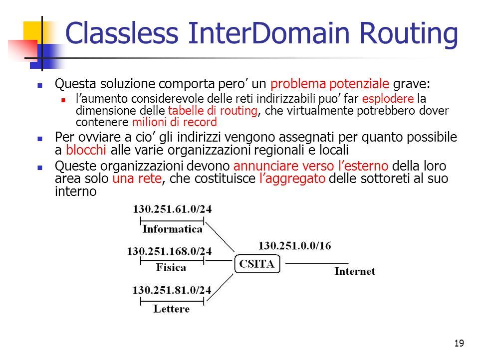 19 Classless InterDomain Routing Questa soluzione comporta pero' un problema potenziale grave: l'aumento considerevole delle reti indirizzabili puo' f