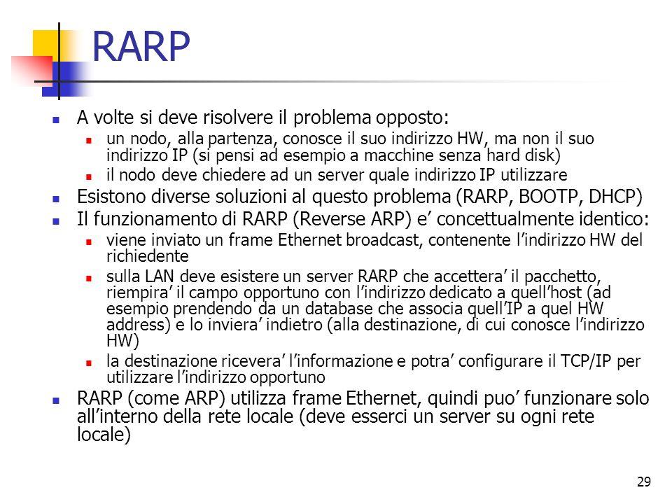 29 RARP A volte si deve risolvere il problema opposto: un nodo, alla partenza, conosce il suo indirizzo HW, ma non il suo indirizzo IP (si pensi ad es