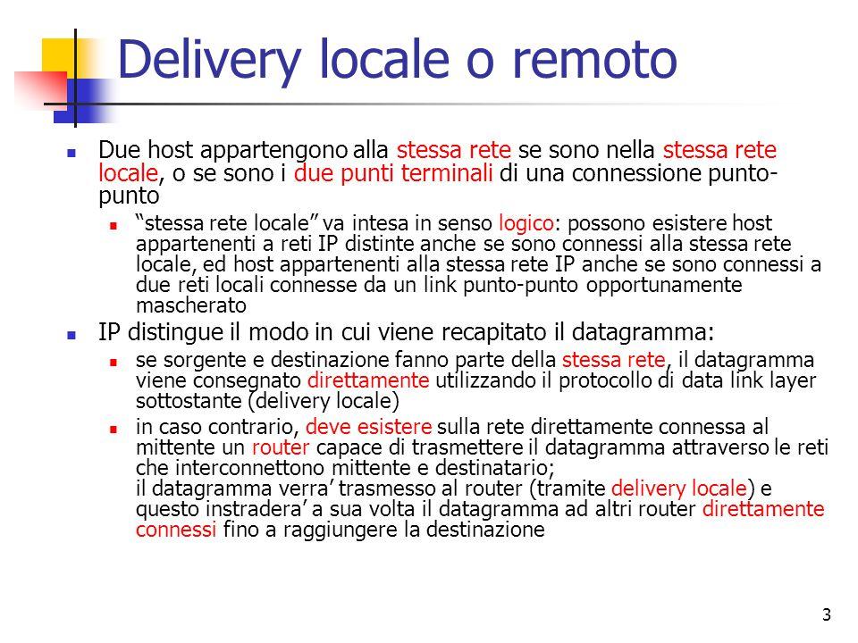 3 Delivery locale o remoto Due host appartengono alla stessa rete se sono nella stessa rete locale, o se sono i due punti terminali di una connessione