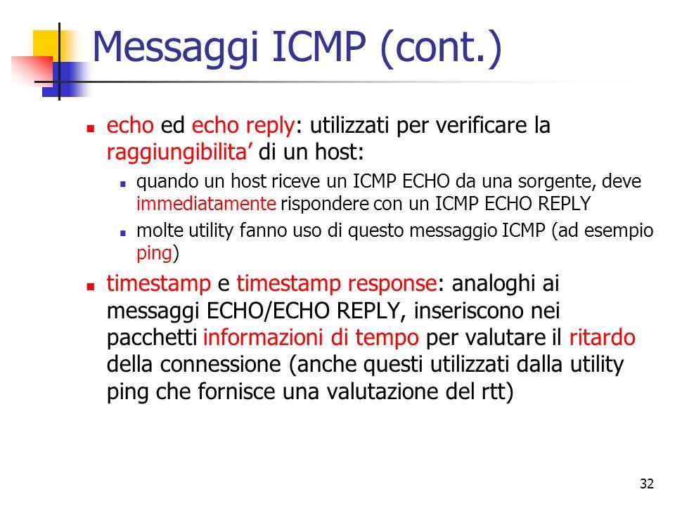 32 Messaggi ICMP (cont.) echo ed echo reply: utilizzati per verificare la raggiungibilita' di un host: quando un host riceve un ICMP ECHO da una sorge