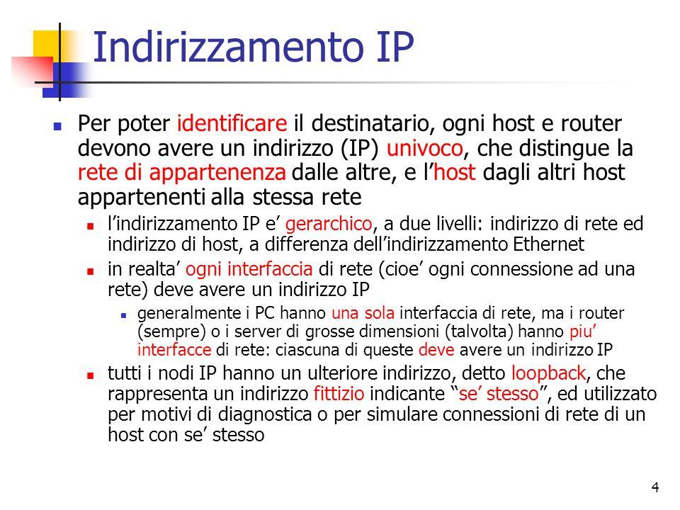 4 Indirizzamento IP Per poter identificare il destinatario, ogni host e router devono avere un indirizzo (IP) univoco, che distingue la rete di appart