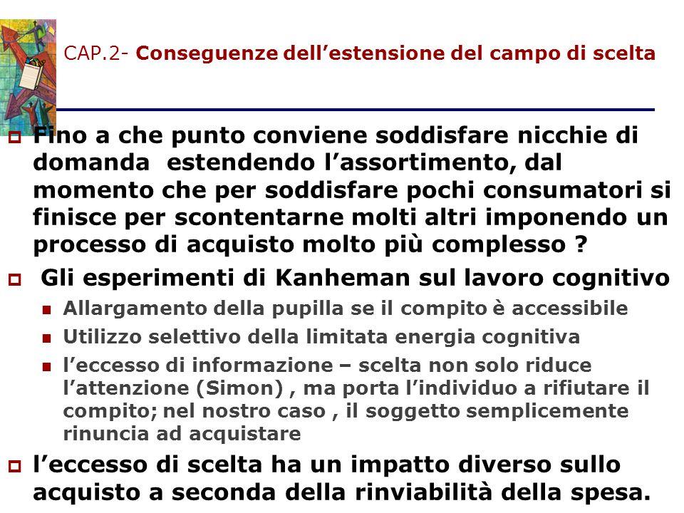 CAP.2- Conseguenze dell'estensione del campo di scelta  Fino a che punto conviene soddisfare nicchie di domanda estendendo l'assortimento, dal moment