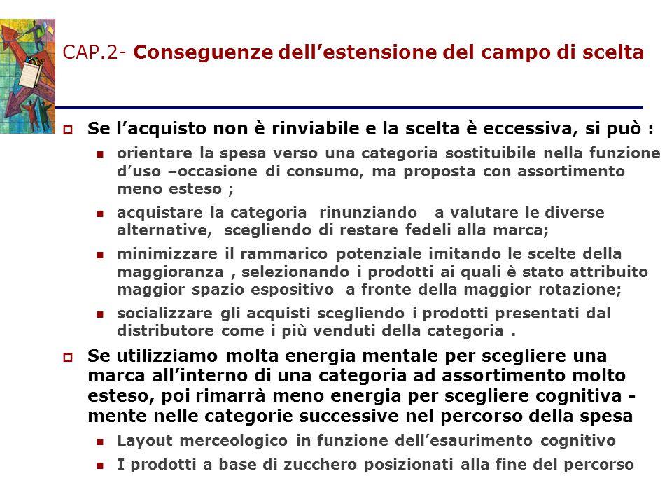 CAP.2- Conseguenze dell'estensione del campo di scelta  Se l'acquisto non è rinviabile e la scelta è eccessiva, si può : orientare la spesa verso una