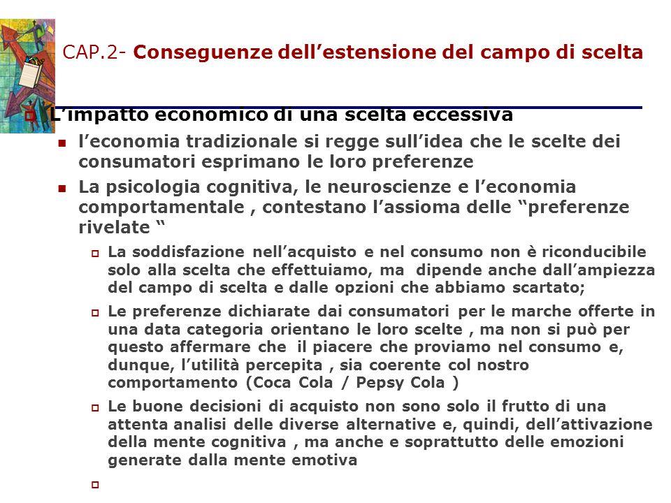 CAP.2- Conseguenze dell'estensione del campo di scelta  L'impatto economico di una scelta eccessiva l'economia tradizionale si regge sull'idea che le