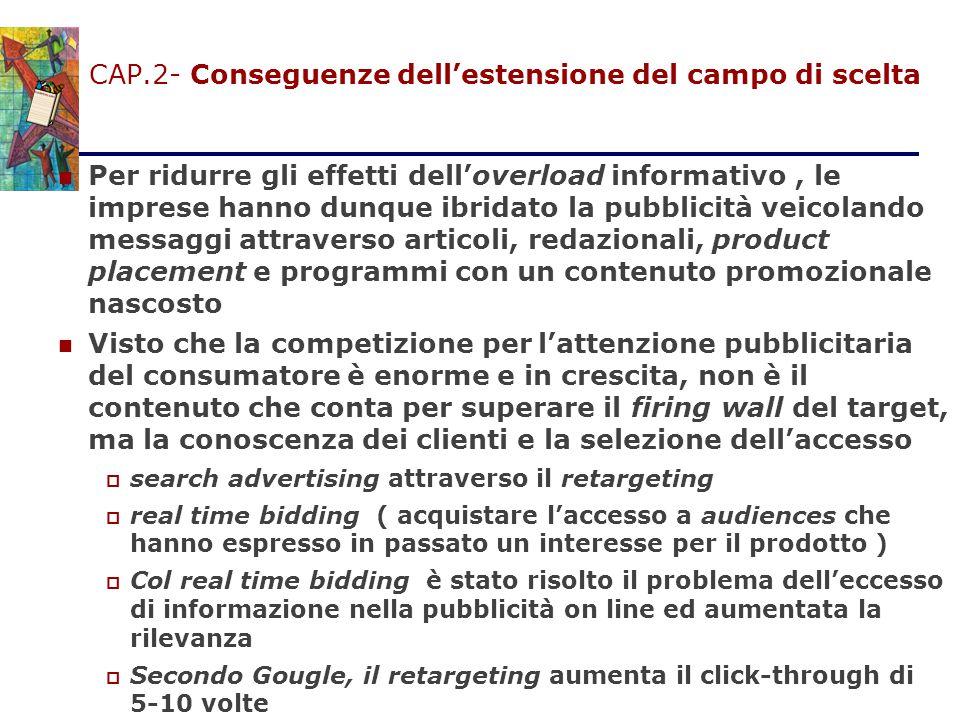 CAP.2- Conseguenze dell'estensione del campo di scelta Per ridurre gli effetti dell'overload informativo, le imprese hanno dunque ibridato la pubblici