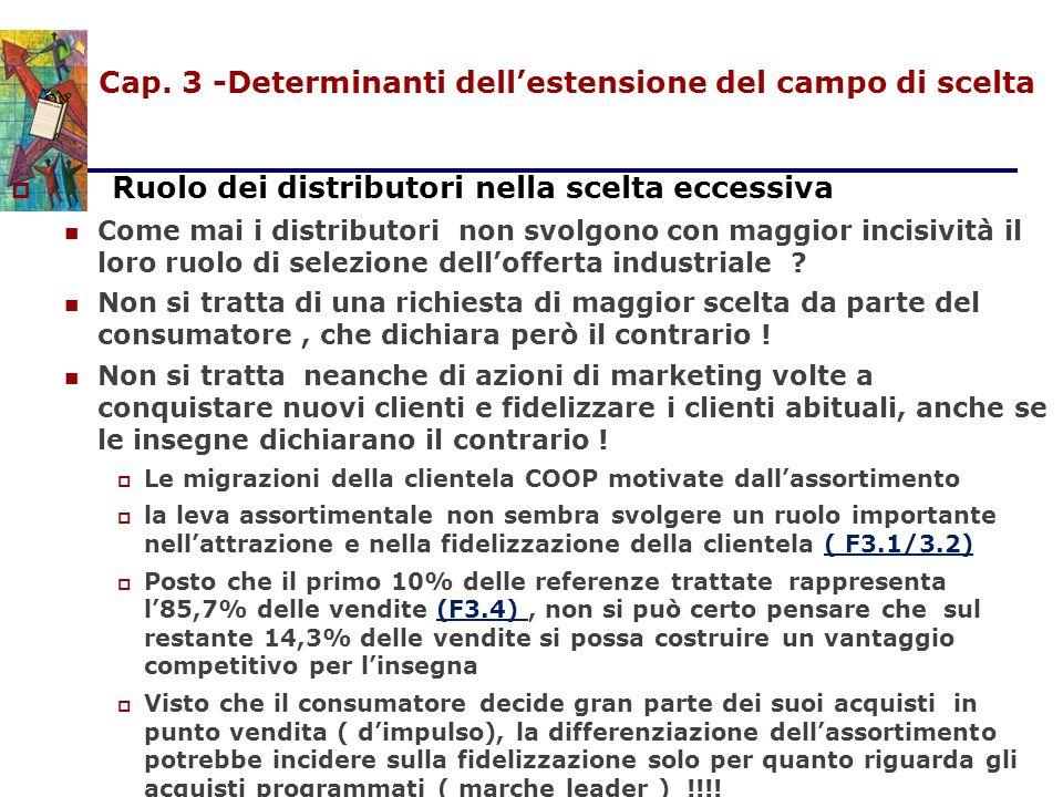 Cap. 3 -Determinanti dell'estensione del campo di scelta  Ruolo dei distributori nella scelta eccessiva Come mai i distributori non svolgono con magg