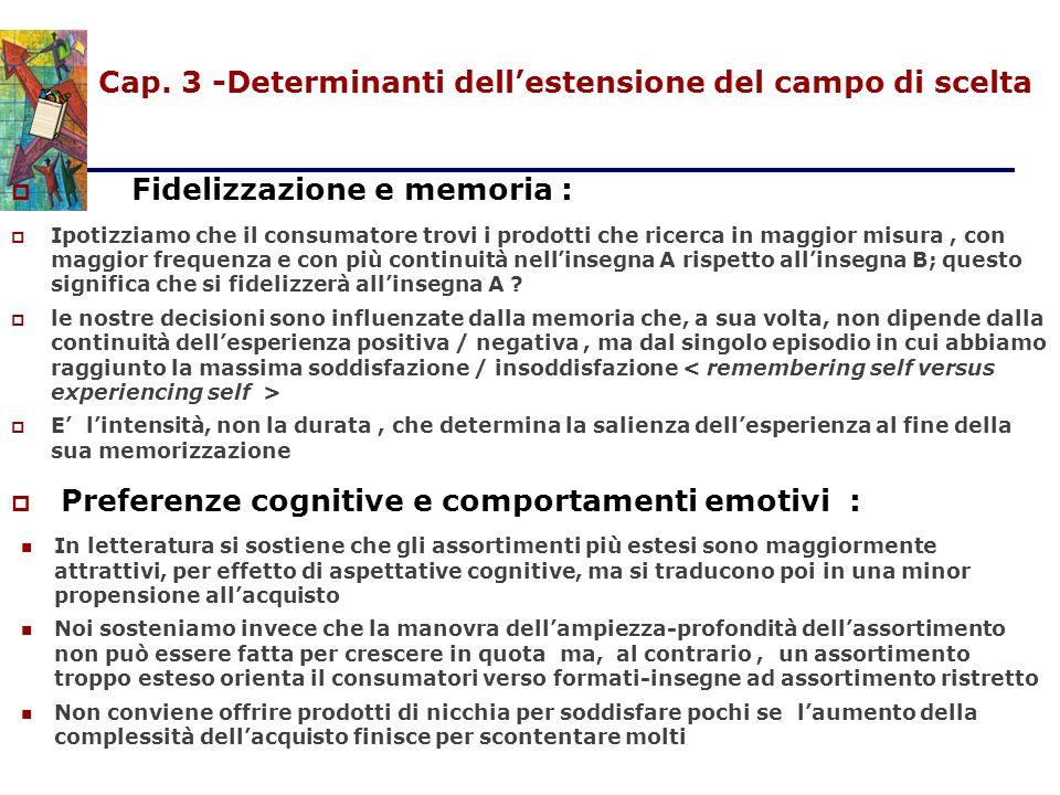 Cap. 3 -Determinanti dell'estensione del campo di scelta  Fidelizzazione e memoria :  Ipotizziamo che il consumatore trovi i prodotti che ricerca in