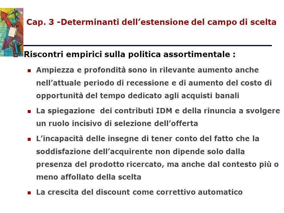 Cap. 3 -Determinanti dell'estensione del campo di scelta  Riscontri empirici sulla politica assortimentale : Ampiezza e profondità sono in rilevante
