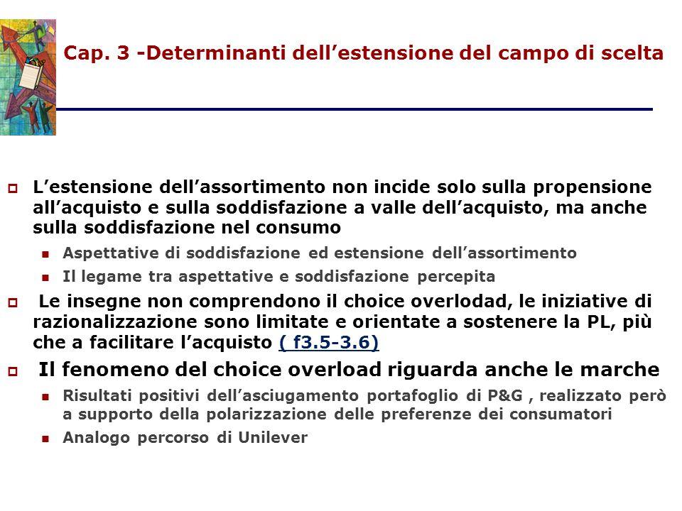 Cap. 3 -Determinanti dell'estensione del campo di scelta  L'estensione dell'assortimento non incide solo sulla propensione all'acquisto e sulla soddi