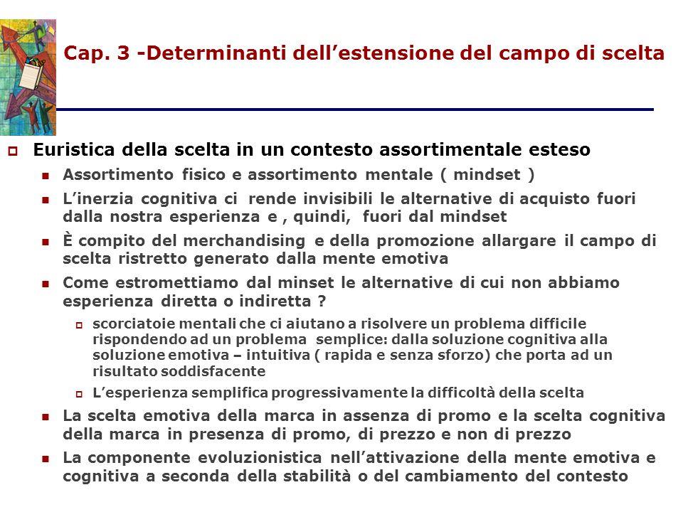 Cap. 3 -Determinanti dell'estensione del campo di scelta  Euristica della scelta in un contesto assortimentale esteso Assortimento fisico e assortime