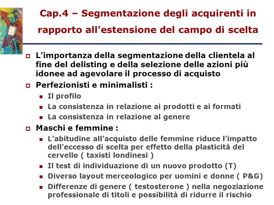 Cap.4 – Segmentazione degli acquirenti in rapporto all'estensione del campo di scelta  L'importanza della segmentazione della clientela al fine del d