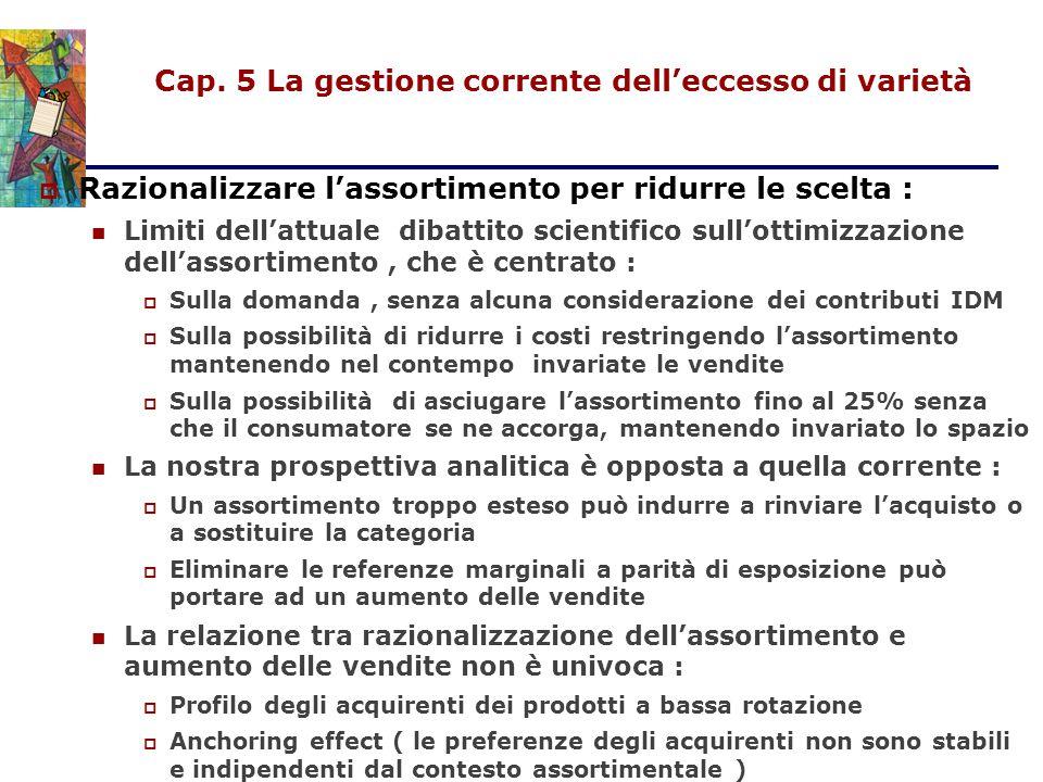 Cap. 5 La gestione corrente dell'eccesso di varietà  Razionalizzare l'assortimento per ridurre le scelta : Limiti dell'attuale dibattito scientifico