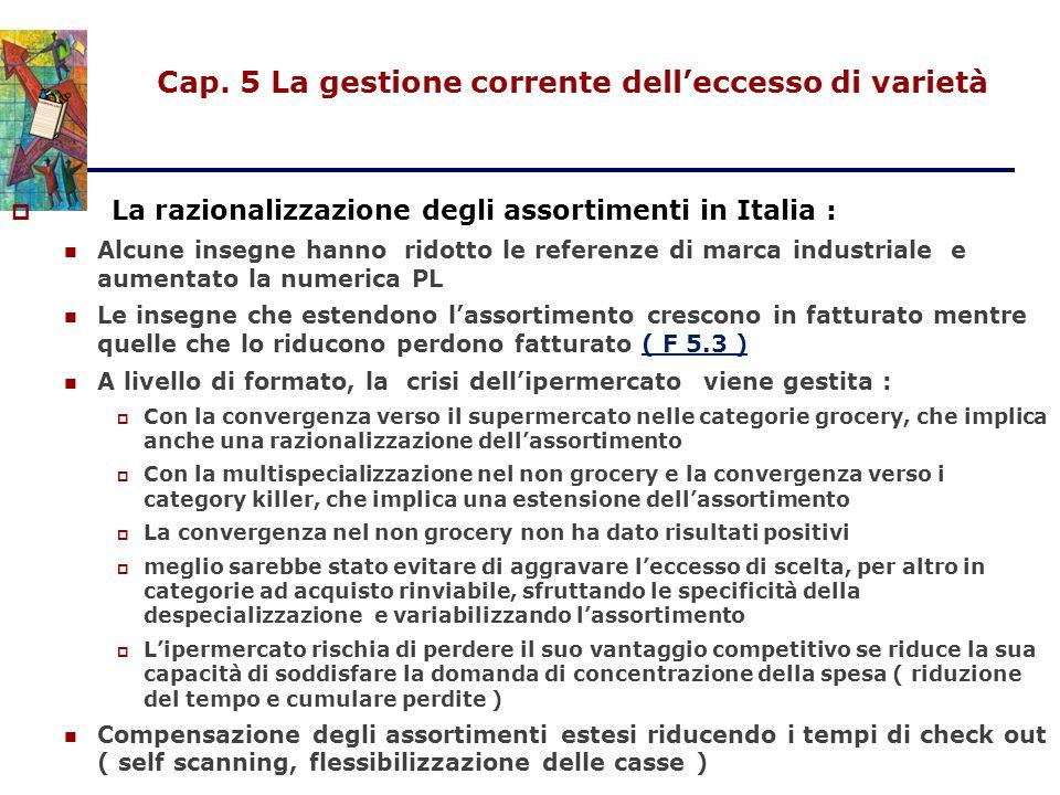 Cap. 5 La gestione corrente dell'eccesso di varietà  La razionalizzazione degli assortimenti in Italia : Alcune insegne hanno ridotto le referenze di