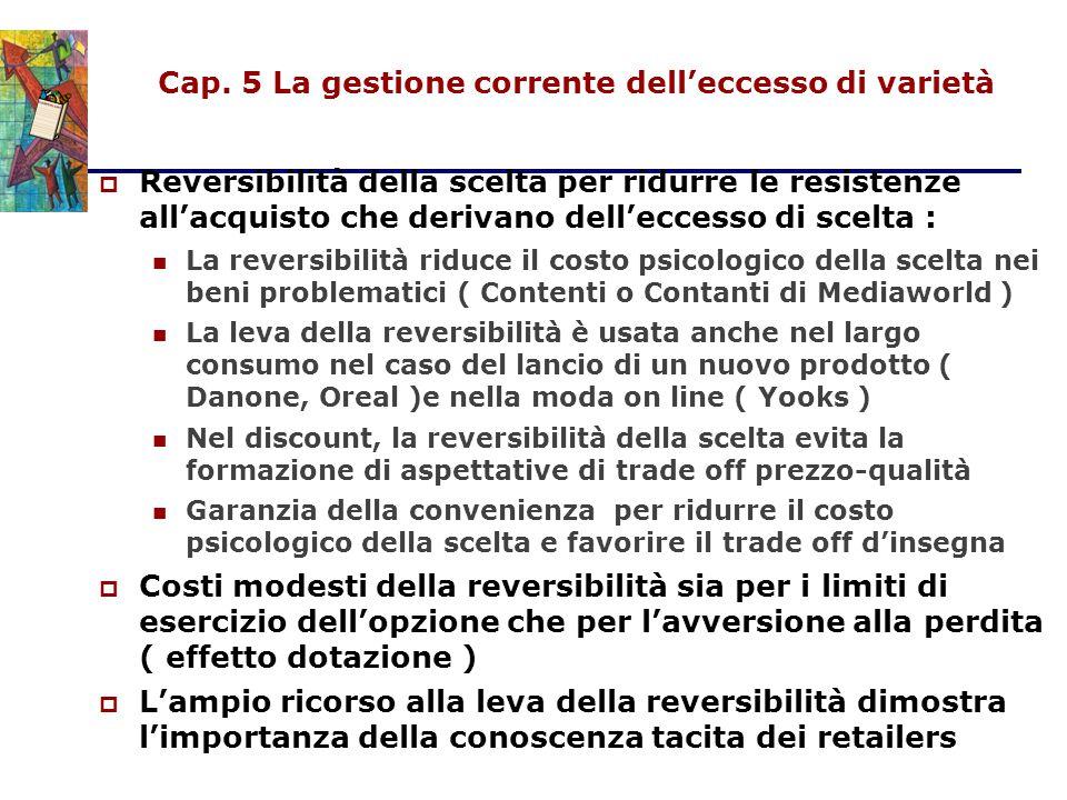 Cap. 5 La gestione corrente dell'eccesso di varietà  Reversibilità della scelta per ridurre le resistenze all'acquisto che derivano dell'eccesso di s