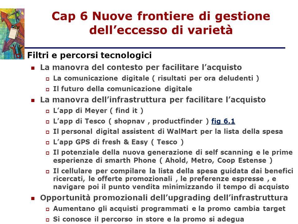 Cap 6 Nuove frontiere di gestione dell'eccesso di varietà  Filtri e percorsi tecnologici La manovra del contesto per facilitare l'acquisto  La comun