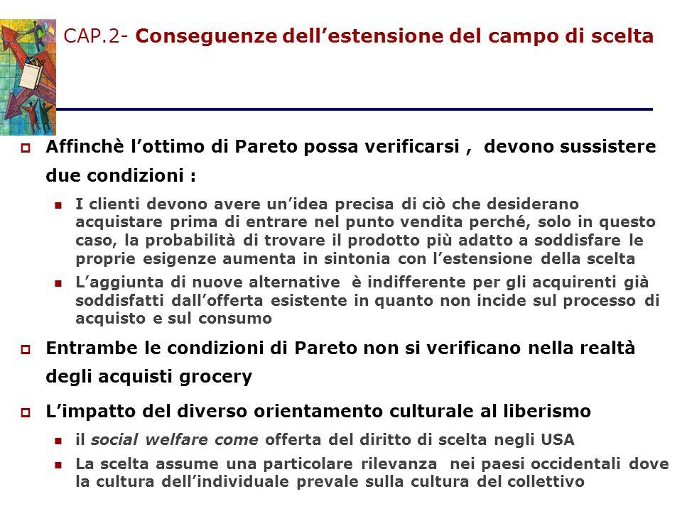 CAP.2- Conseguenze dell'estensione del campo di scelta  Affinchè l'ottimo di Pareto possa verificarsi, devono sussistere due condizioni : I clienti d