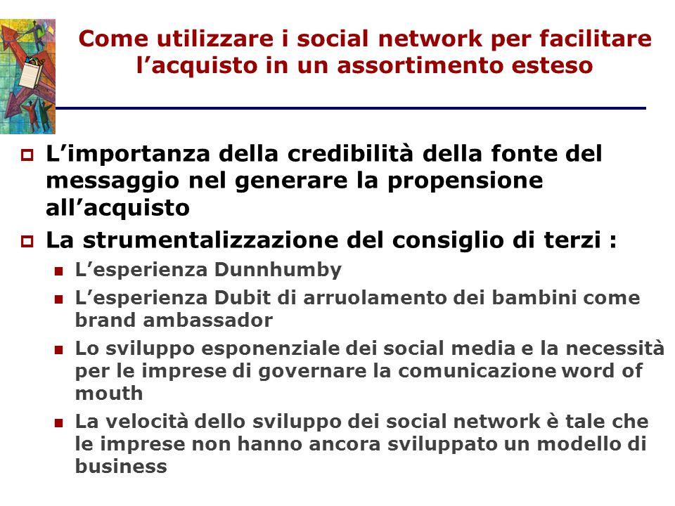 Come utilizzare i social network per facilitare l'acquisto in un assortimento esteso  L'importanza della credibilità della fonte del messaggio nel ge