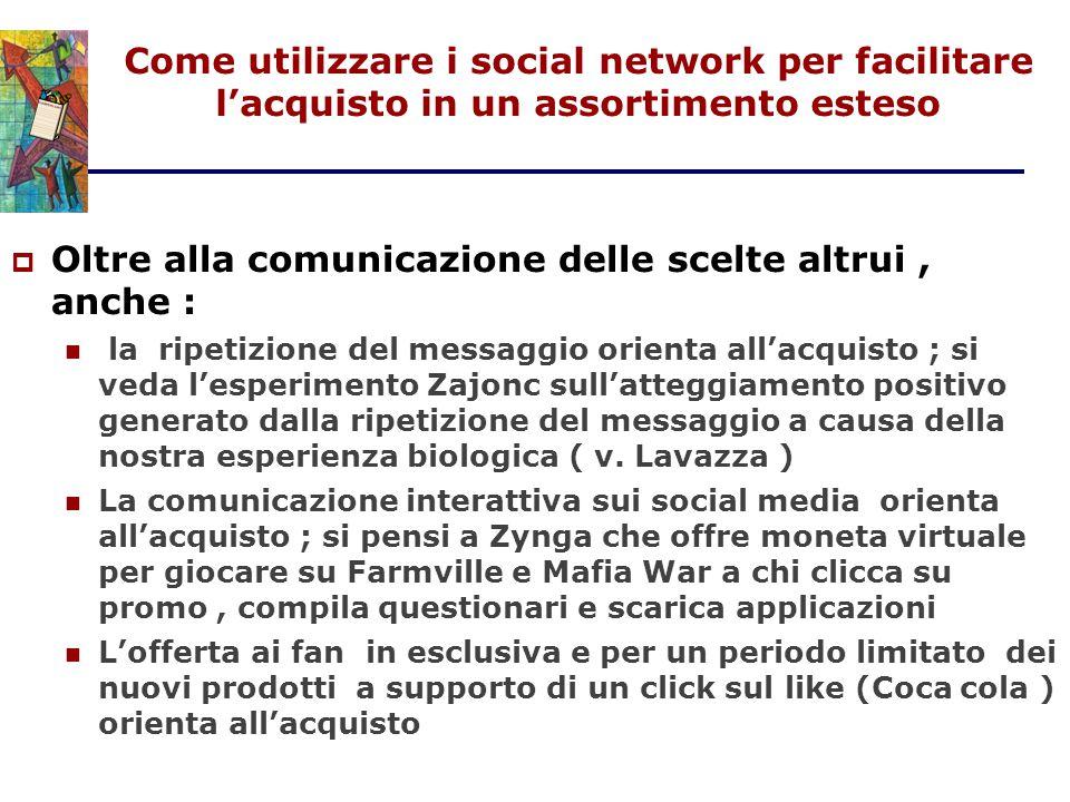 Come utilizzare i social network per facilitare l'acquisto in un assortimento esteso  Oltre alla comunicazione delle scelte altrui, anche : la ripeti