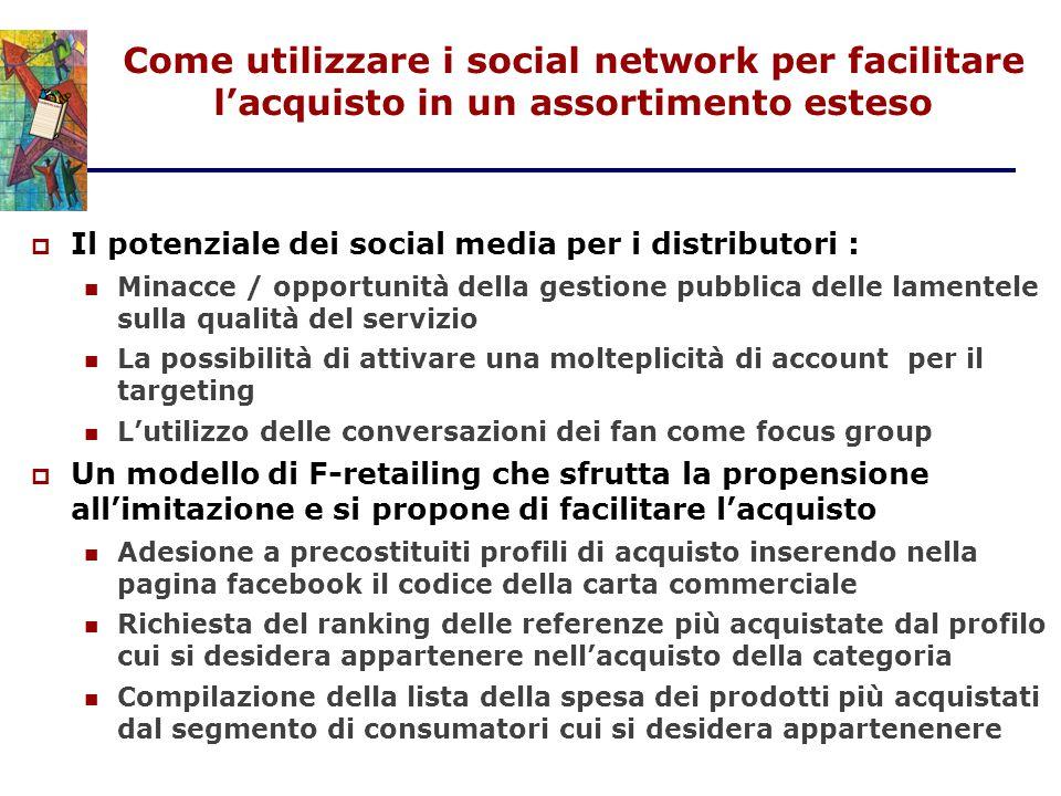 Come utilizzare i social network per facilitare l'acquisto in un assortimento esteso  Il potenziale dei social media per i distributori : Minacce / o
