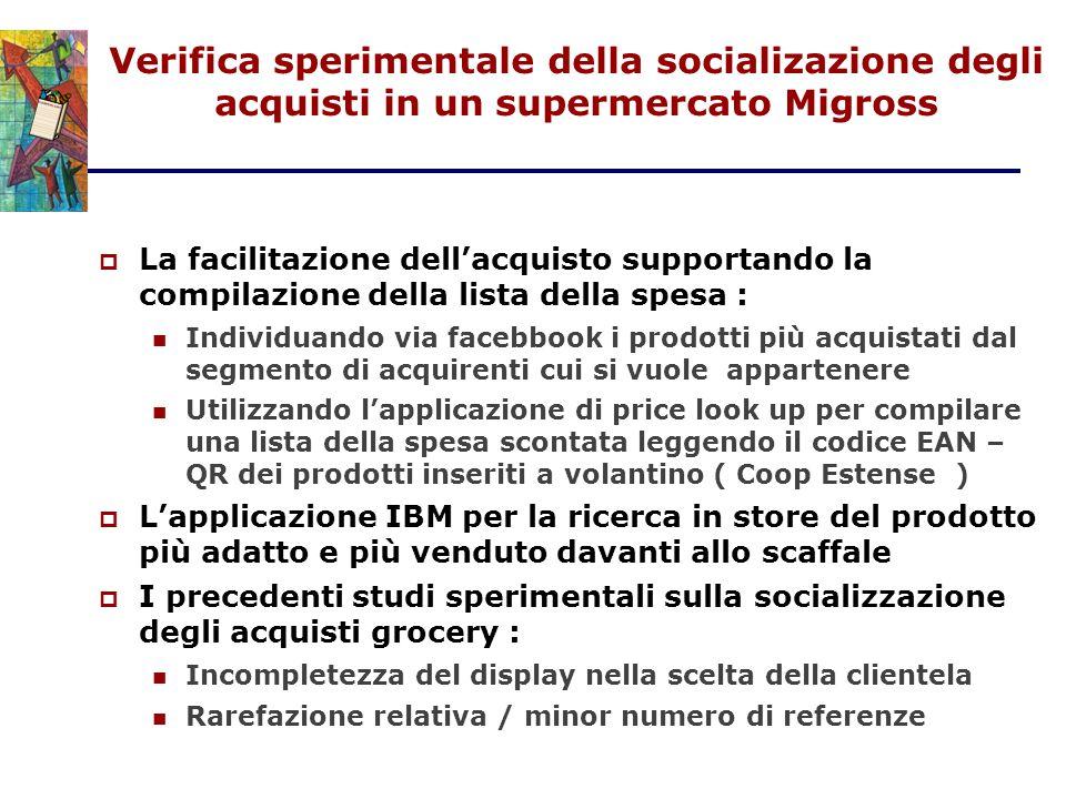 Verifica sperimentale della socializazione degli acquisti in un supermercato Migross  La facilitazione dell'acquisto supportando la compilazione dell