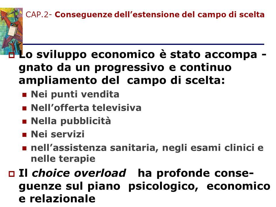 CAP.2- Conseguenze dell'estensione del campo di scelta  Lo sviluppo economico è stato accompa - gnato da un progressivo e continuo ampliamento del ca